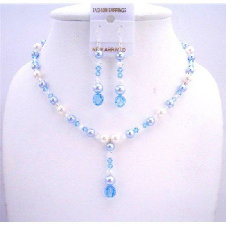 BRD576  White Pearls Aquamarine Pearls Aquamarine Crystals Necklace Set Wedding Jewelry Set
