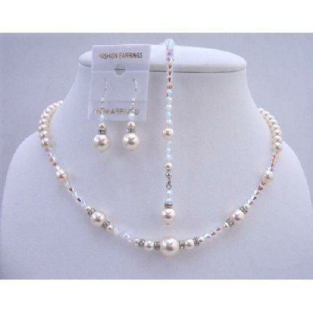 BRD649  AB 2x Swarovski Crystals w/ Ivory Pearls Bridal Jewelry Back Drop String Necklace Set
