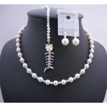 BRD650 Bridal Smashing Back Extension & Back Drop Pearls Crystals Necklace Set w/ Fish Pendant
