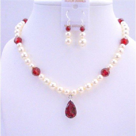 BRD694Handcrafted Bridal Jewelry Cream Pearls Siam Red Crystals w/ Siam Red Crystals Pendant