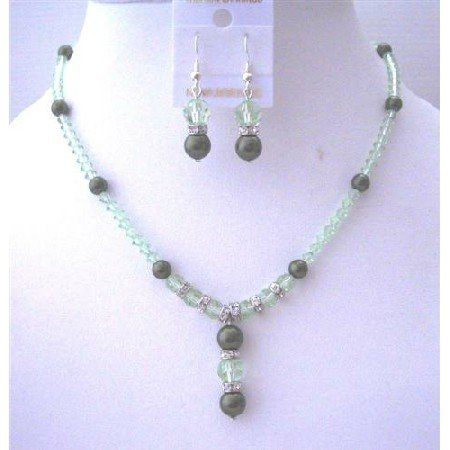 BRD498  Swarovski CANTALOUPE Crystals Jewelry Set w/ Drop Down Bridemaides Bridal Jewelry