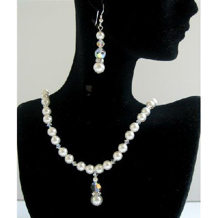 BRD594  White Pearls Genuine Swarovski AB Crystals Bridal Jewelry Handcrafted Necklace Set