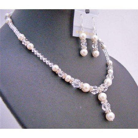 BRD682 Necklace Set w/ Genuine Swarovski Off White Pearls Clear Crystals Silver Rondells Jewelry