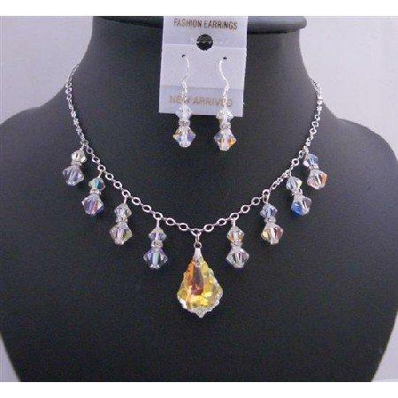 BRD674 AB Baroque Pendant Swarovski AB Crystals w/ Dangling AB Bicone Crystals Jewelry Set