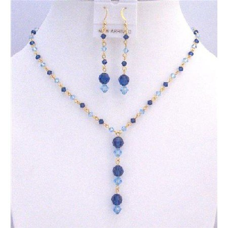 BRD828 Jewelry Set w/ Genuine Swarovski Blue Crystals Aquamarine Sapphire Crystals Jewelry Set