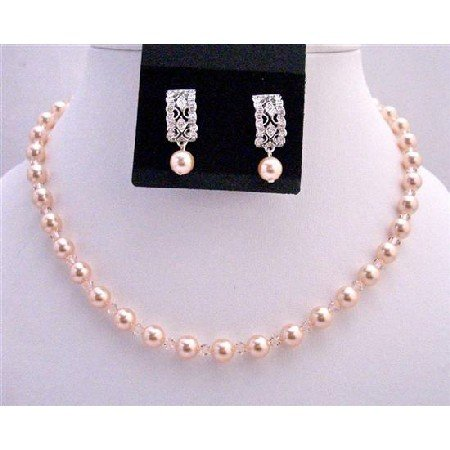 BRD728 Peach Bridemaides Pearls Crystals Jewlery Set Genuine Swarovski Pearls & Crystals Jewelry Set