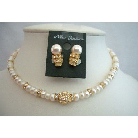 BRD330  Fine Jewelry Handcrafted Freshwater Pearls Jewelry w/ Gold Rondells Bride Jewelry Necklace