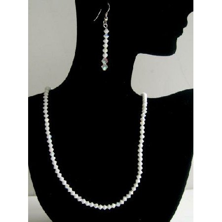 BRD367 Exclusive Jewelry Swarovski Chalk & AB Chalk Sterling Silver Earrings & Necklace