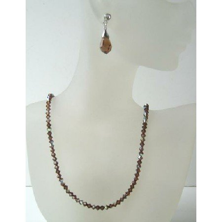 BRD359 Swarovski AB Smoked Topaz Crystals w/ TearDrop Earrings Handmade Necklace & Earrings Set