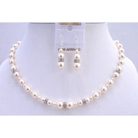 BRD814  Wedding Handcrafted Beautiful Swarovski Ivory Pearls Silver Rondells Spacer