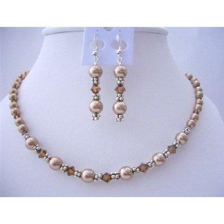 BRD409 Swarovski Bronze Pearls & SMoked Topaz Crystals Necklace Set w/ Bali Silver spacer Set