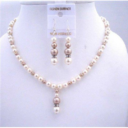BRD554  Ivory Pearls w/ Champagne Pearls Bridal Bridmemaids Jewelry Sets Genuine Swarovski Pearls