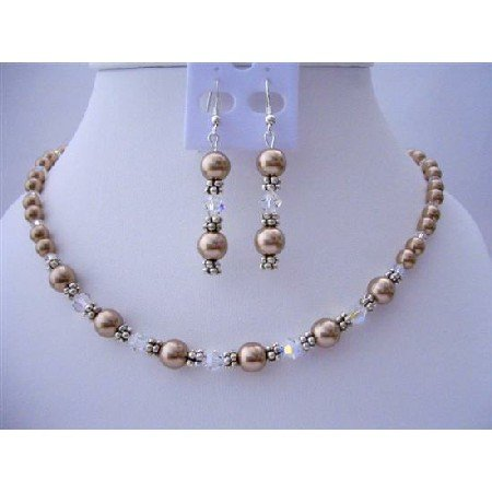 BRD410  Bridemaides Bridal Handcrafted Bronze Pearls & AB Crystals Jewelry
