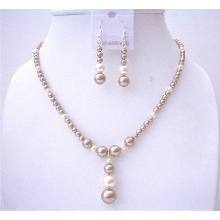 BRD535Bronze Pearls Swarovski Pearls Necklace Set w/Cream Pearls Handcrafted Wedding Jewelry Set