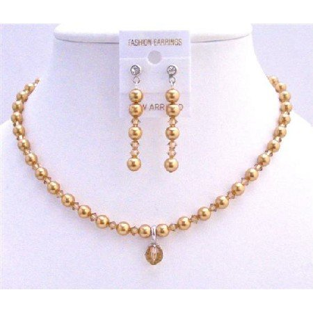 BRD714  Swarovski Gold Pearls Lite Colorado Crystals Bridal Custom Jewelry Set