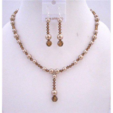 BRD622 Swarovski Bronze Pearls Necklace Set w/ Swarovski Smoked Topaz Crystals Drop Down