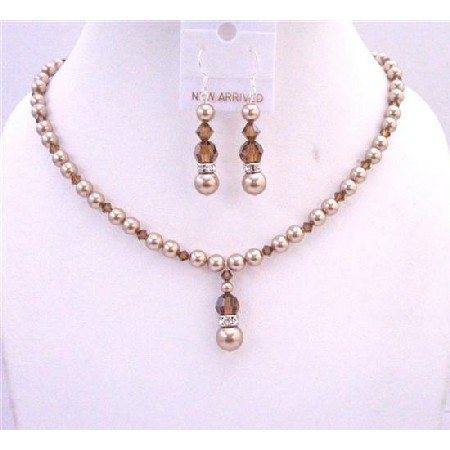 BRD621 Bronze Pearls Swarovski Smoked Topaz Crystals Jewelry Set Handcrafted Necklace Set