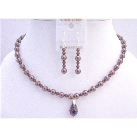 BRD711  Burgundy Pearls Crystals Genuine Swarovski Crystals Pearls Bridal Jewelry Set