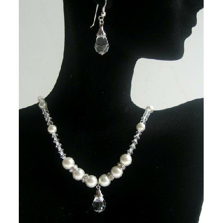 BRD365Swarovski Clear Crystals Pearls Necklace w/Clear Crystals Teardrop Earrings Bridal Jewelry