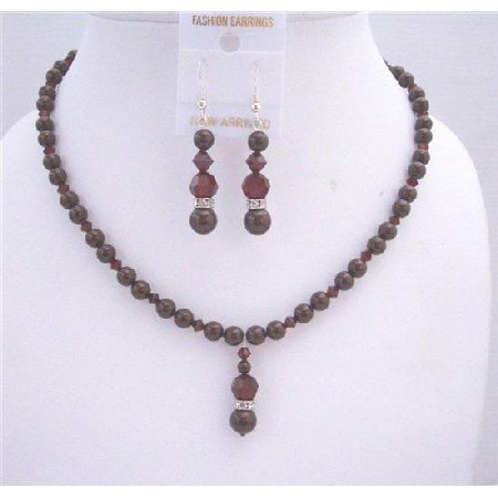BRD556  Maroon Pearls Swarovski Dark Siam Red Crystals Drop Down Wedding Jewelry Set