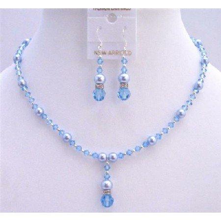 BRD741  Blue Pearls Auquamrine Crystals Bridal Jewelry Set