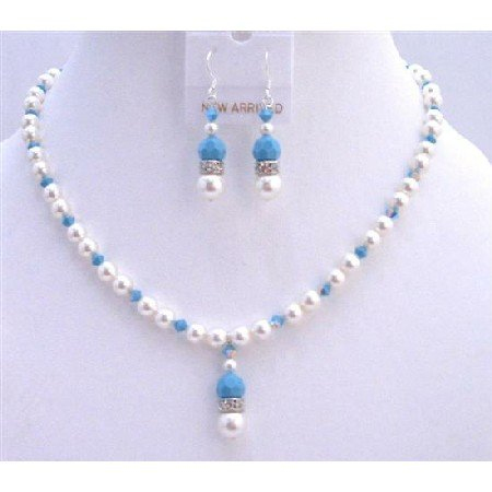 BRD740Blue Pool Jewelry Set White Swarovski Pearls w/Swarovski Turquoise Crystals Necklace Set
