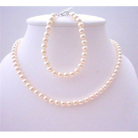 BRD438  Ivory Pearls Flower Girl Jewelry Necklace & Bracelet Genuine Swarovski Pearls 6mm
