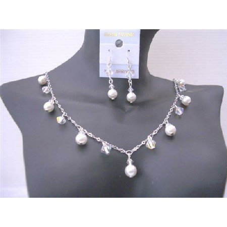BRD540Sparkling Jewelry Set AB Swarovski Crystals And White Pearls Exclusive Bridal Jewelry Sets