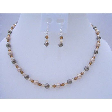 BRD413 Swarovski Crystals & Pearls Birdal Bridemaides Brown Pearls Crystals Jewelry Set