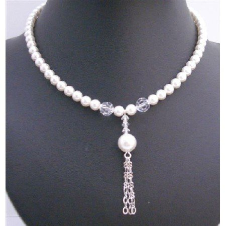 BRD687  White Pearls Swarovski Pearls 8mm Necklace w/ Tassel Drop Down Necklace