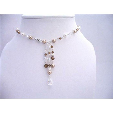 BRD648Necklace Jewelry Handmade Back Drop Bridal Bridemaids Pearls Crystals Custom Jewelry