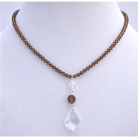 BRD701  Smoked Topaz Genuine Swarovski Clear Crystals Polygon Beads Necklace