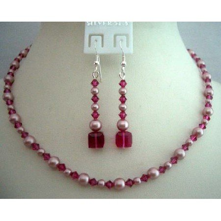 BRD340 Handcrafted Genuine Swarovski Rose Pink Pearls & Fuschia Crystals Necklace Set