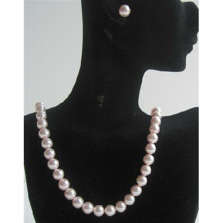 BRD435Genuine Swarovski Pink Pearls Necklace Set w/ Stud Pearls Earrings