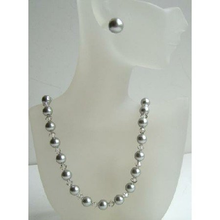 BRD362  Swarovski Clear Crystals & Grey Pearls w/ Grey Stud Earrings Perfect Jewelry Set