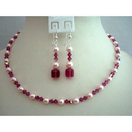 BRD339  Pink Bride Bridemaids Jewelry Genuine Swarovski Rose Pink & AB Fuschia Crystals Necklace Set