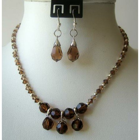BRD314  Smoked Topaz Crystals TearDrop Necklace Set Wedding Jewelry Genuine Crystals