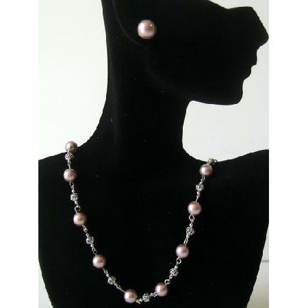 BRD351  Handmade Genuine Swarovski Powder Rose Pearls Necklace w/ Stud Earrings