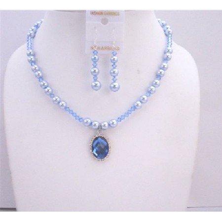 BRD577  Swarovski Blue Pearls Lite Sapphire Swarovski Crystals w/ Crystals Pendant Necklace Set