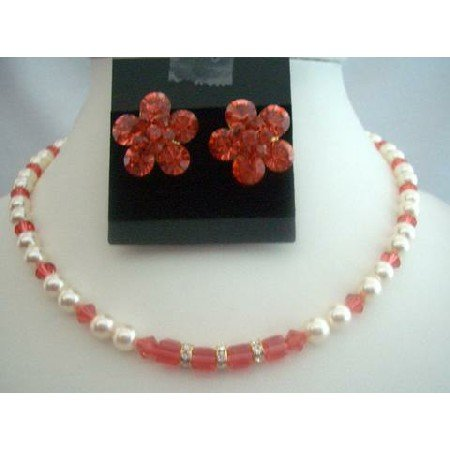 BRD296Wedding Jewelry Bridal Necklace Set w/Genuine Cream Pearls & Padparadscha Crystals
