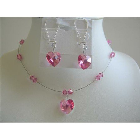 NSC558Fuschia Heart Crystals Pendant Earrings Necklace Set Genuine Swarovski Crystals Heart Jewelry