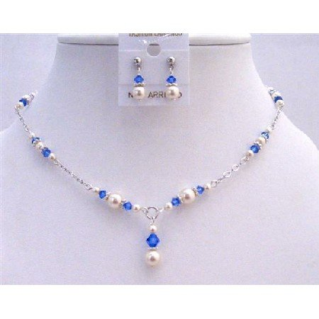 NSC653 Necklace Set White Pearls & Sapphire Crystals w/Bali Silver Jewelry Set