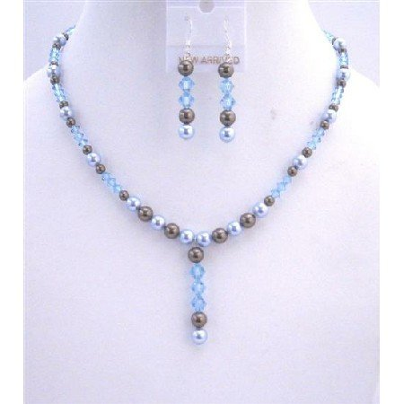 NSC527Champagne Pearls Jewelry Set Bridal Champagne Necklace Set w/Smoked Topaz Drop Down