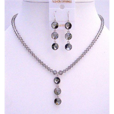 NSC605Black Diamond Swarovski Crystals w/ Round Crystals 3 Beads Pendant Earrings Necklace Set