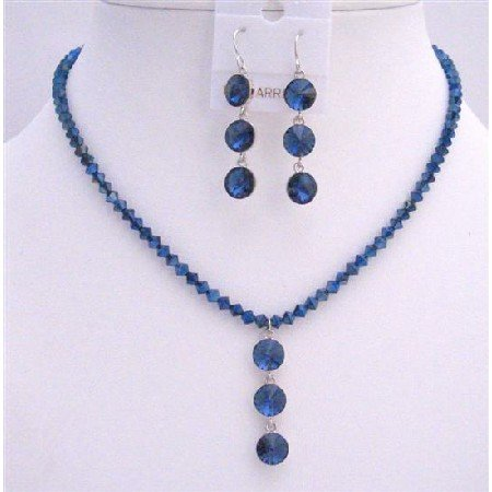 NSC606  Metallic Blue Crystals Drop Down Jewelry Set Genuine Swarovski Crystals Necklace Set