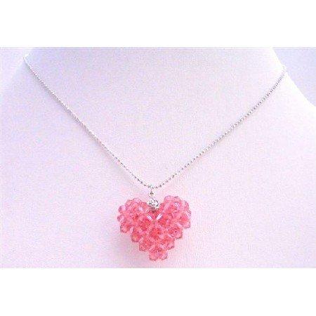 NSC671 Handmade Puffy Heart Pendant Necklace Genuine Rose Swarovski Crystals Heart
