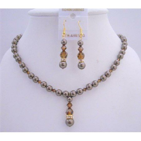 NSC650  Chocolate Pearls Smoked Topaz Crystals Jewelry Set Bridal Necklace Set w/ Silver Rondells