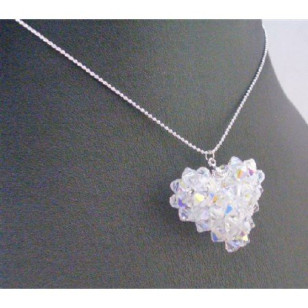 NSC670  AB Swarovski Puffy Heart Pendant Necklace Swarovski Crystals w/ Genuine Swarovski