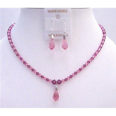 NSC651  Rose Pink & Fuschia Crystals Jewelry Set w/ Teardrop Necklace Set