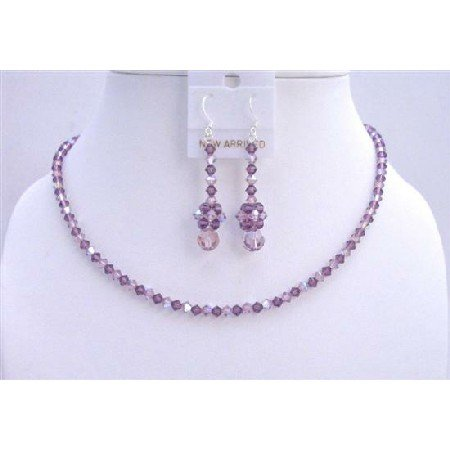 NSC590  Amethyst AB Amethyst Swarovski Crystals Necklace Set Jewelry